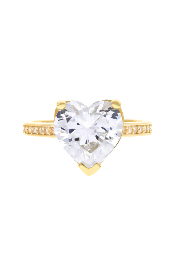 Clear Paris Heart Vermeil Ring image-Chvker Jewelry
