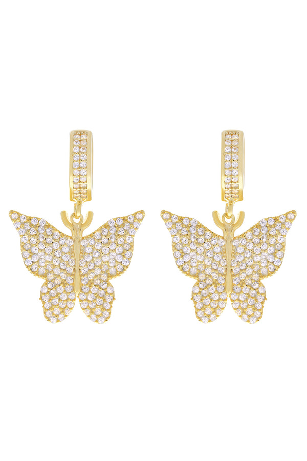 Clear Pavé Butterfly Vermeil Earrings