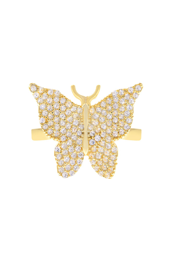 Clear Pavé Butterfly Vermeil Ring-Chvker Jewelry
