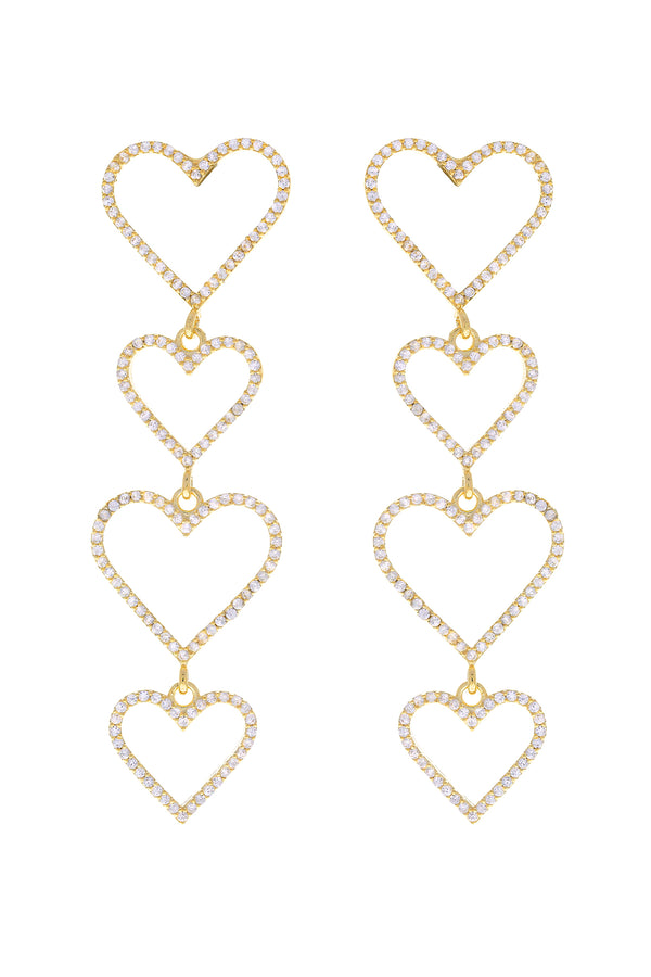 Clear Pavé Heart Drop Vermeil Earrings-Chvker Jewelry