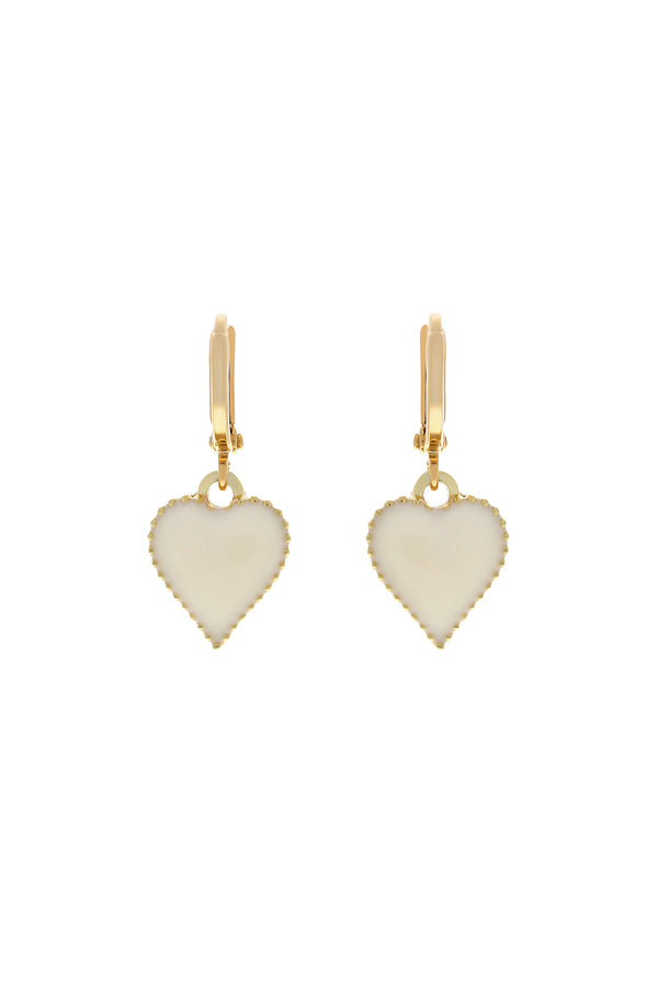 Cream Baby Love Heart Earrings-Chvker Jewelry