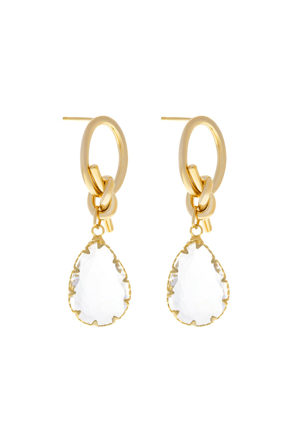 Crystal Teardrop Earrings-Chvker Jewelry