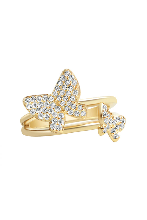 Double Aria Butterfly Vermeil Ring