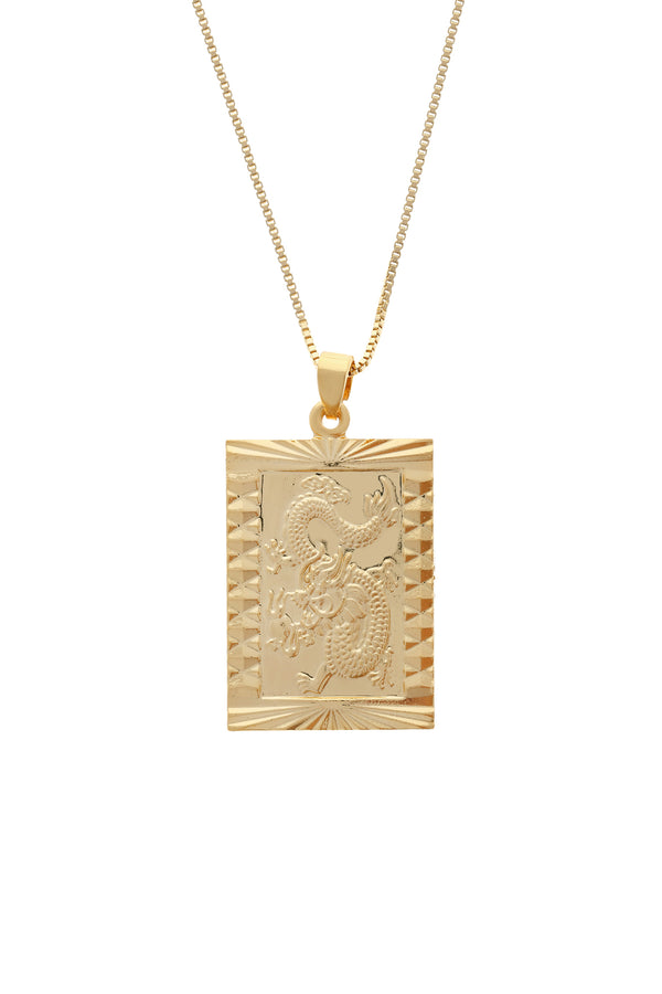 Dragon Amulet Gold Filled Necklace-Chvker Jewelry