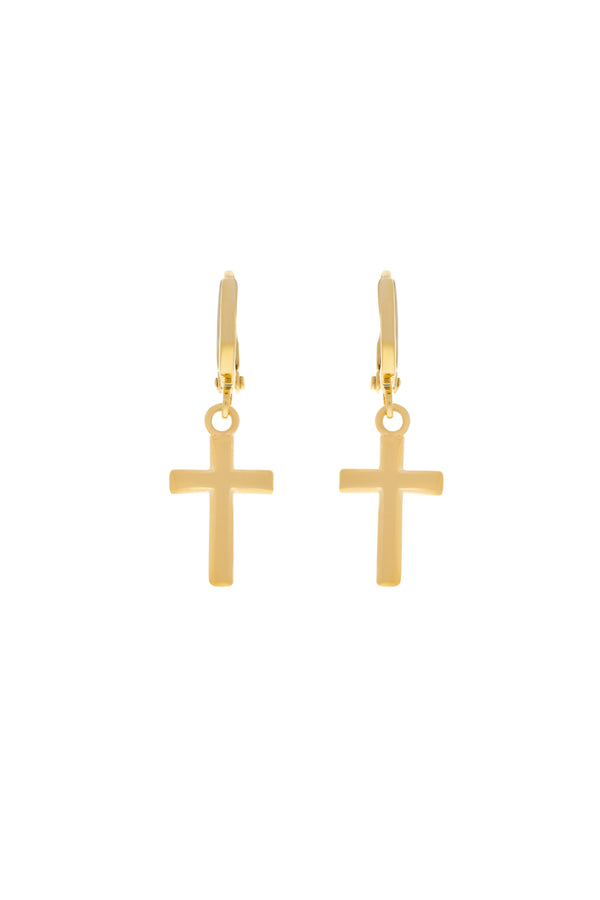 Everyday Cross Huggie Earrings image-Chvker Jewelry