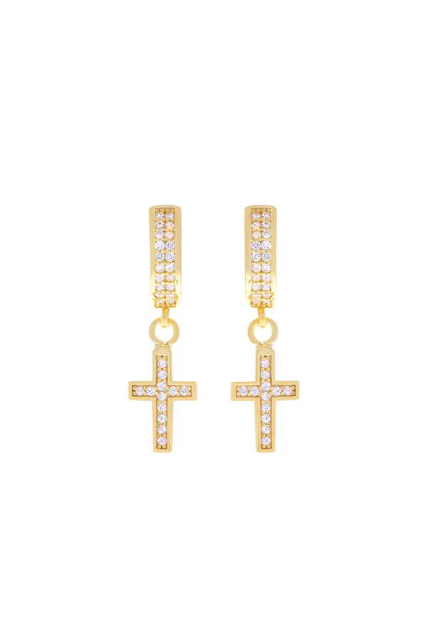 Fae Pavé Cross Vermeil Earrings-Chvker Jewelry