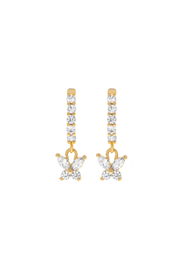Farfalla Butterfly CZ Huggie Earrings