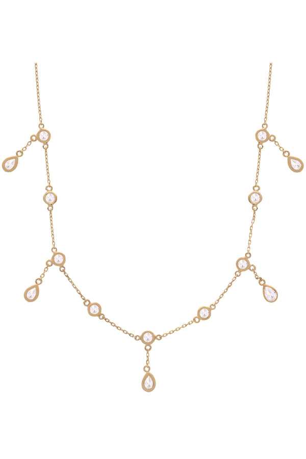 Gigi Dangle Bezel Vermeil Necklace-Chvker Jewelry