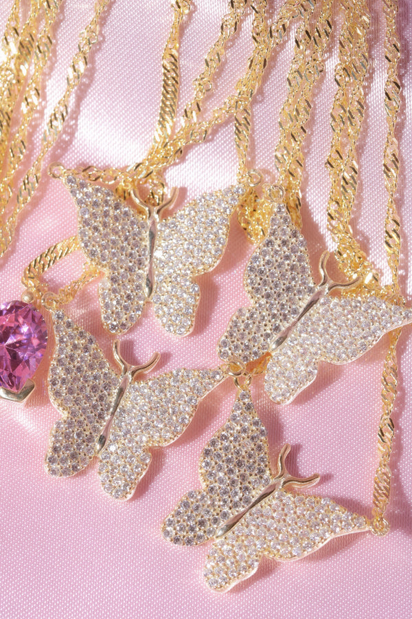 Clear Pavé Butterfly Vermeil Necklace