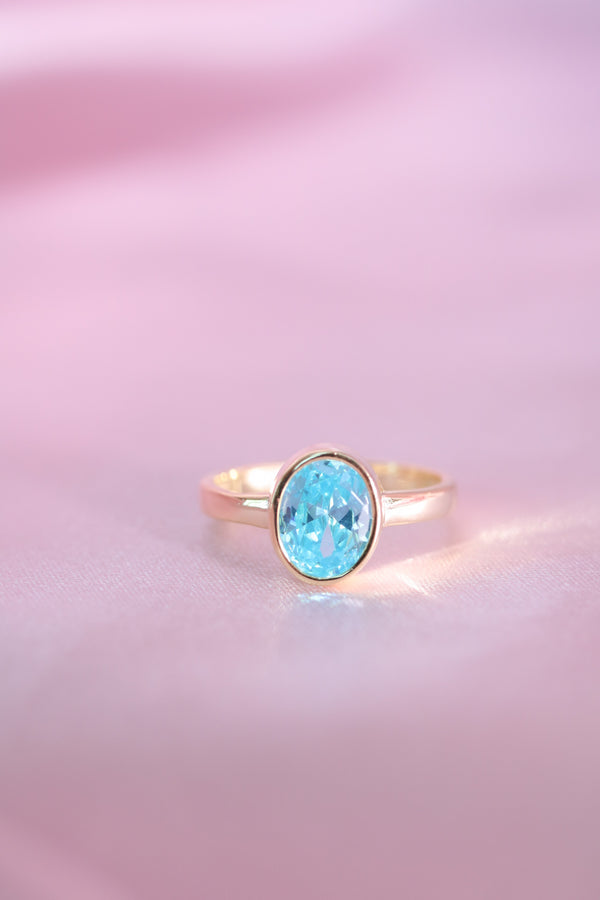 Oval Blue Stone Vermeil Ring (PREORDER - SHIPS IN 2-4 WEEKS)