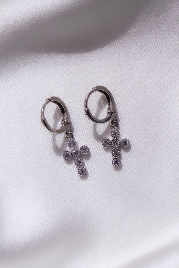 Silver Trinity Cross Huggie Earrings-Chvker Jewelry