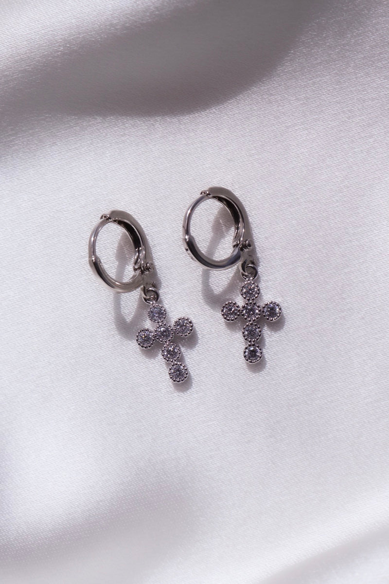 Silver Trinity Cross Huggie Earrings