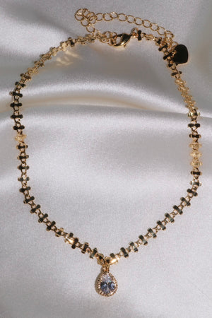 CZ Diamond Drop Chain Choker