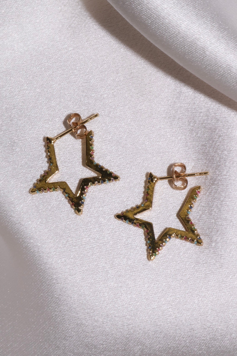 Rainbow Star Hoops-Chvker Jewelry