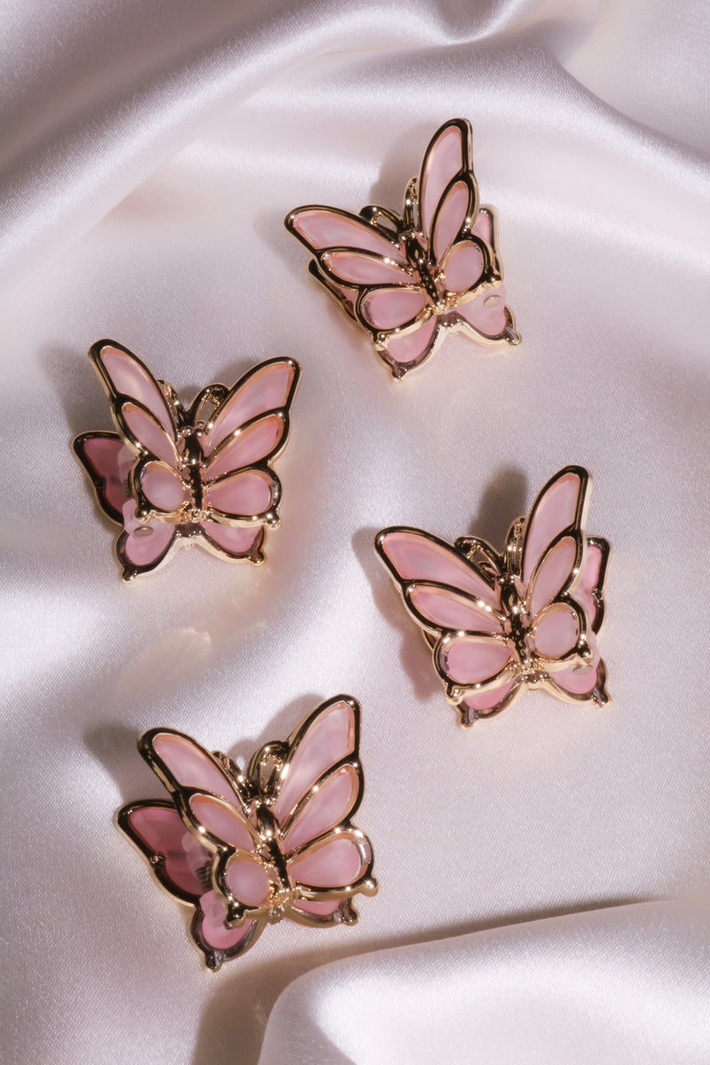 Pink Butterfly Hair Clip - Pack of 2