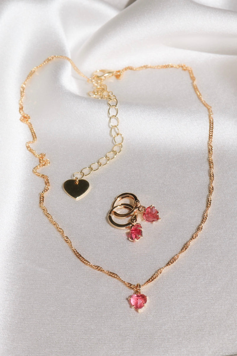 Pink Gem Heart Set