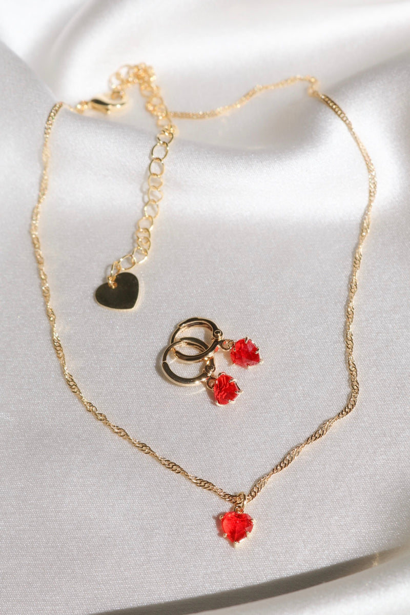 Red Gem Heart Set