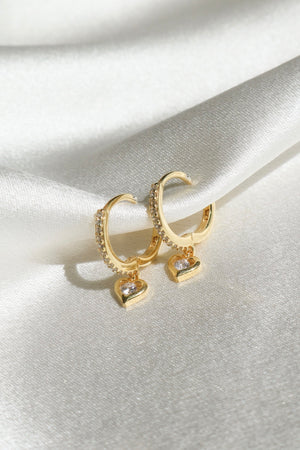 Mini Heart CZ Earrings-Vermeil-Chvker Jewelry