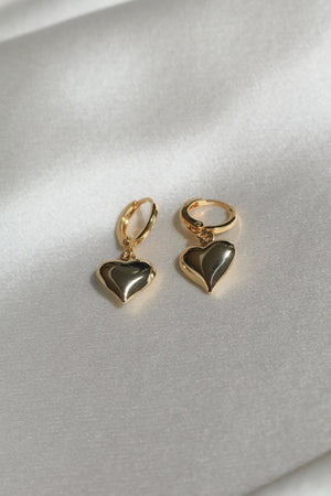 Baby Bell Heart Huggie Earrings