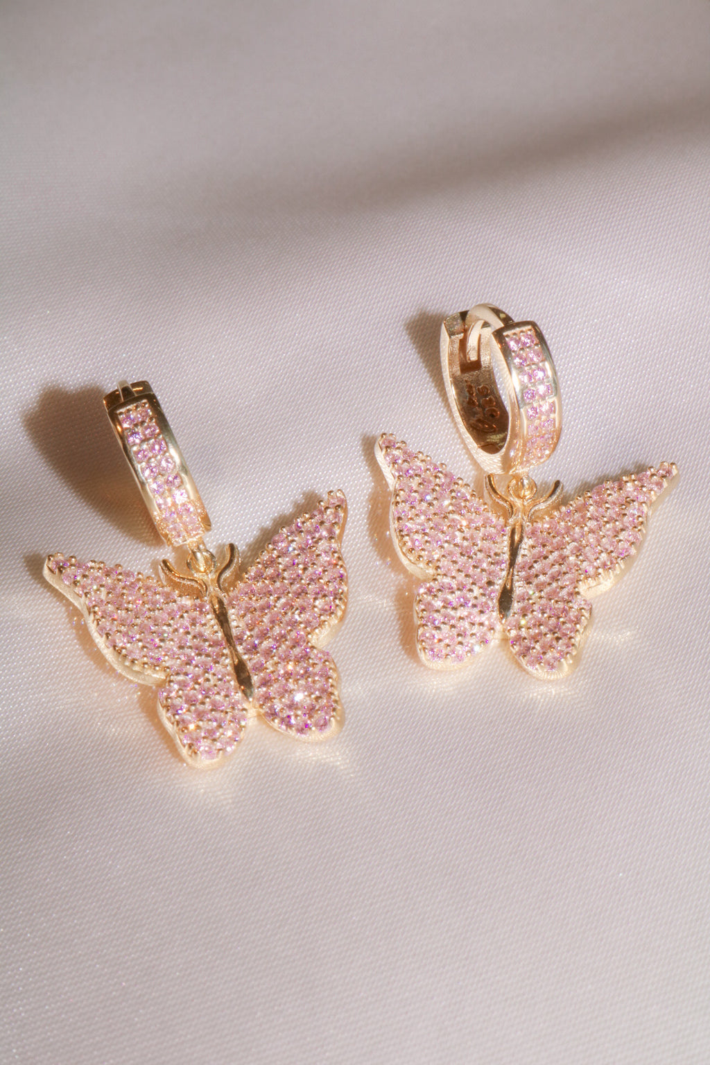 Pink Pavé Butterfly Vermeil Earrings