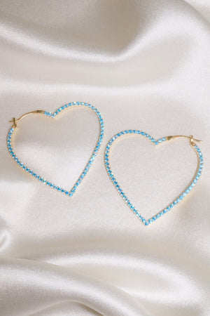 Blue Pavé Heart Vermeil Hoops-Chvker Jewelry