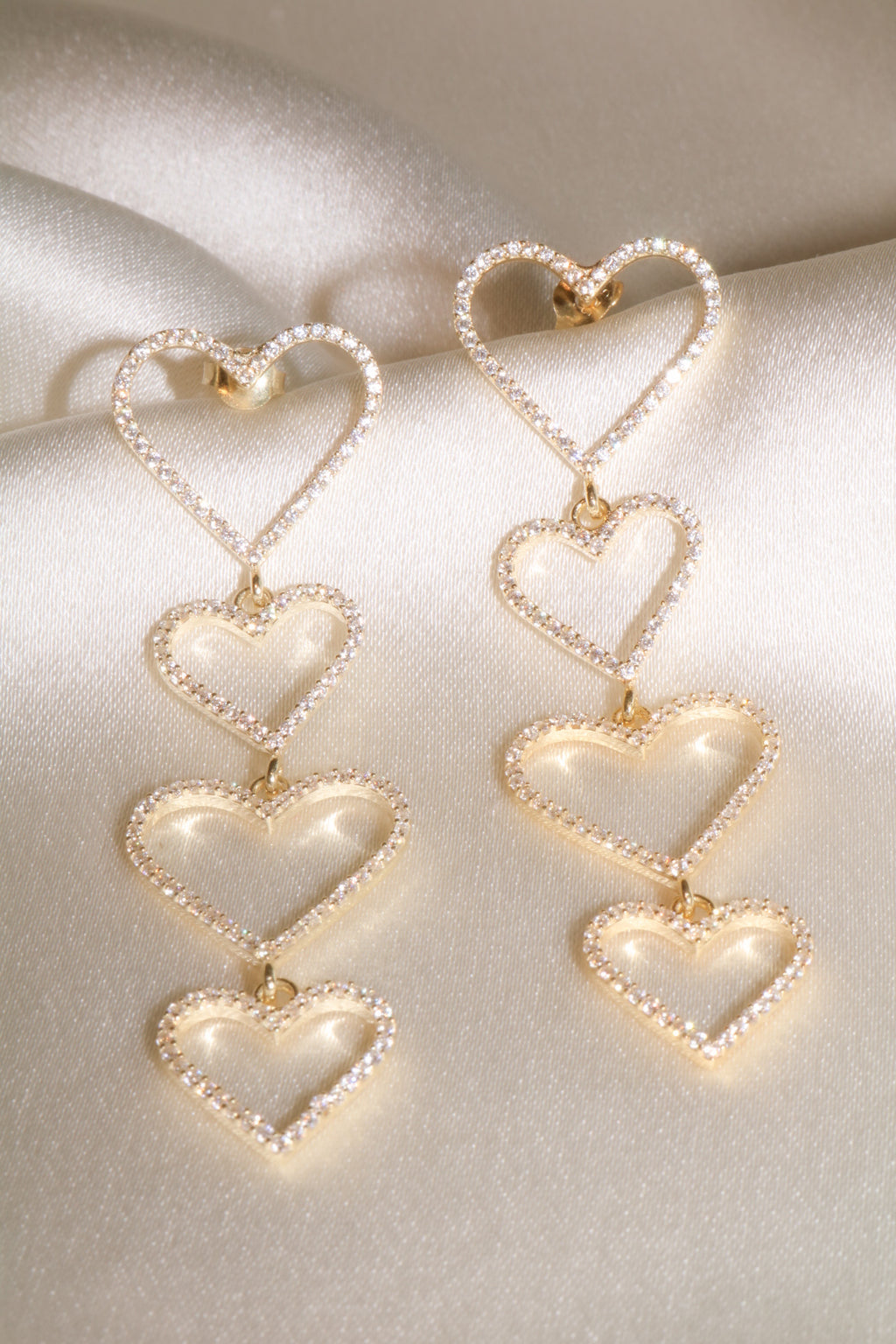Clear Pavé Heart Drop Vermeil Earrings