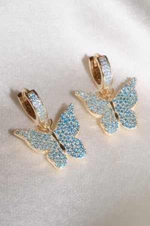 Blue Pavé Butterfly Vermeil Earrings