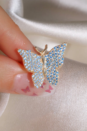 Blue Pavé Butterfly Vermeil Ring