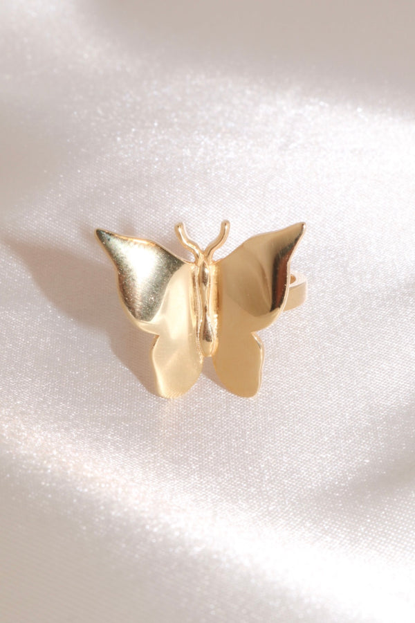 Gold Butterfly Vermeil Ring-Chvker Jewelry