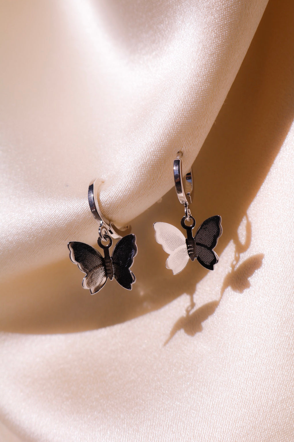 Silver Butterfly Kisses Earrings