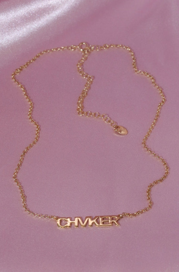 Custom Name Vermeil Necklace-Chvker Jewelry