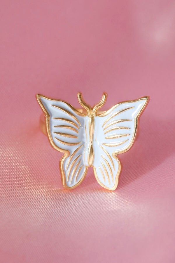 Blue Enamel Butterfly Vermeil Ring-Chvker Jewelry
