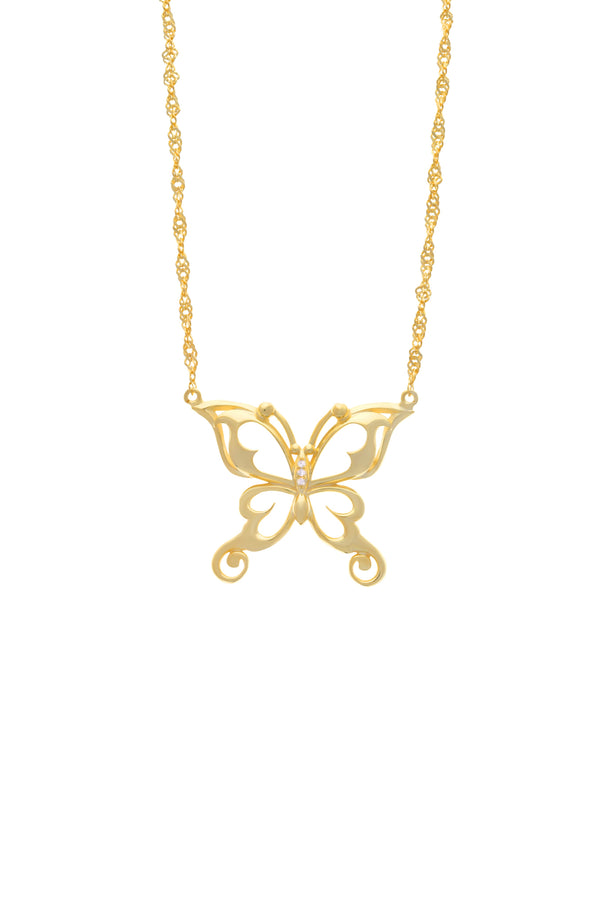 Layla Butterfly Vermeil Necklace-Chvker Jewelry