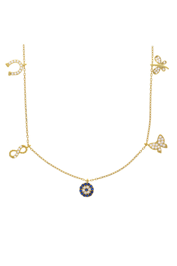 Lucky Charms Pavé Vermeil Necklace-Chvker Jewelry
