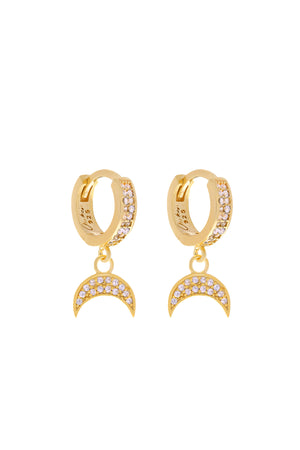 Luna Pavé Moon Vermeil Earrings-Chvker Jewelry