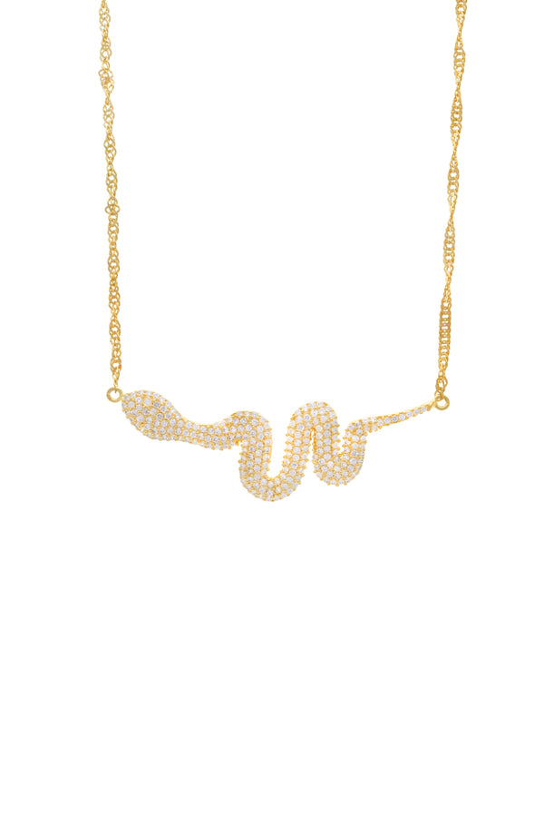 Major Serpiente Pavé Snake Vermeil Necklace image-Chvker Jewelry
