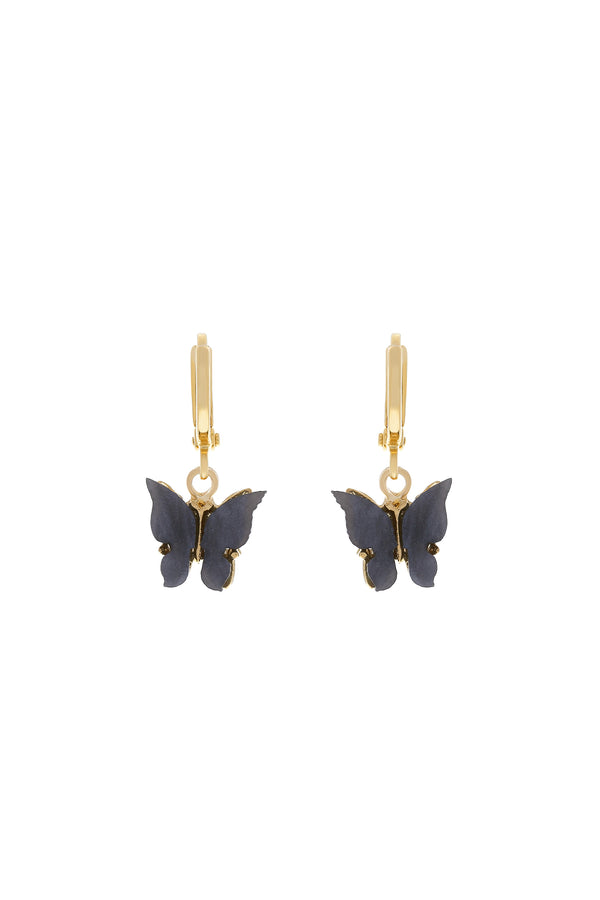 Midnight Butterfly Huggie Earrings