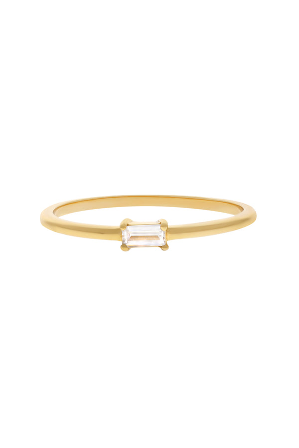 Mini Single Baguette Vermeil Ring-Chvker Jewelry