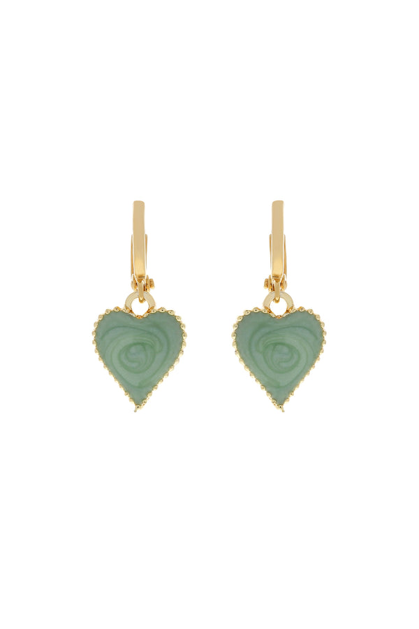 Mint Baby Love Heart Earrings