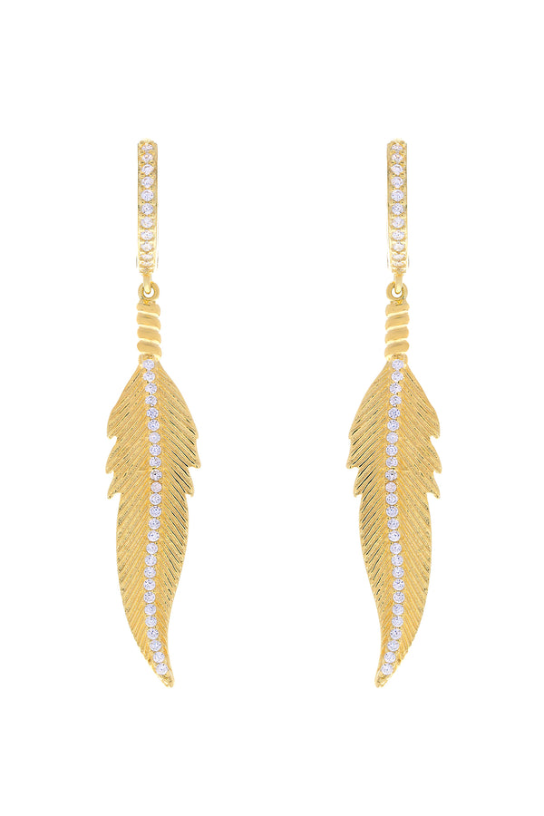 Miu Pavé Feather Vermeil Earrings-Chvker Jewelry