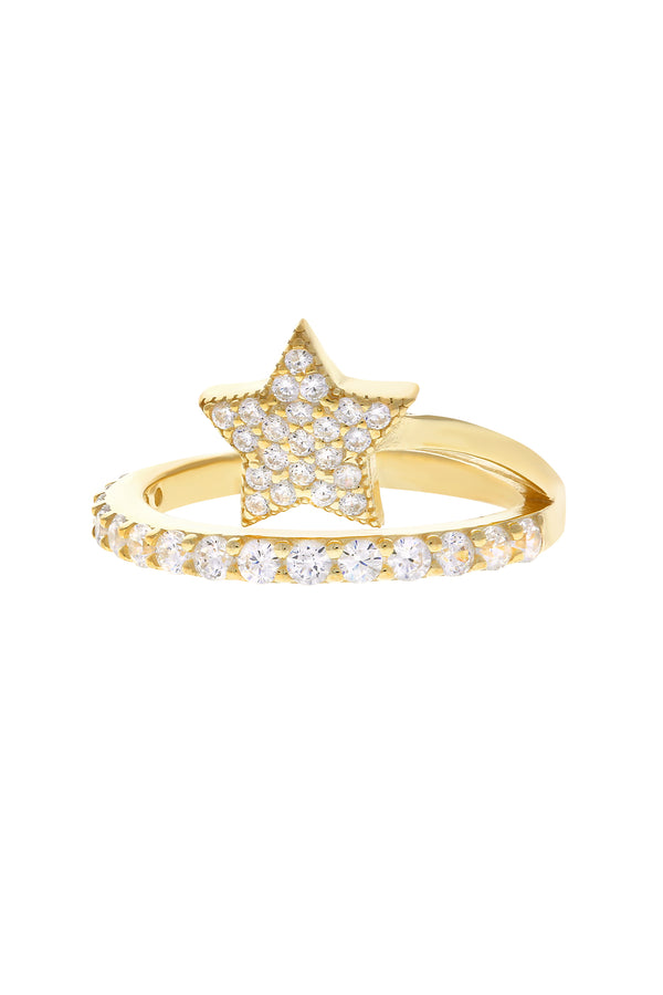 Nova Pavé Star Vermeil Ring-Chvker Jewelry