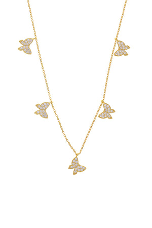 Pavé Aria Butterfly Vermeil Necklace-Chvker Jewelry