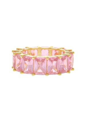 Pink Baguette Eternity Band Vermeil Ring