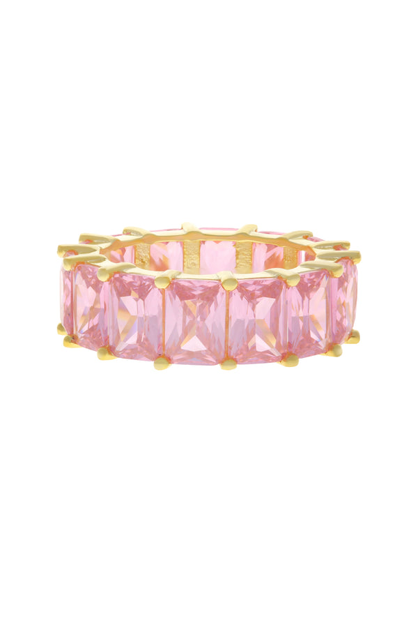 Pink Baguette Eternity Band Vermeil Ring-Chvker Jewelry