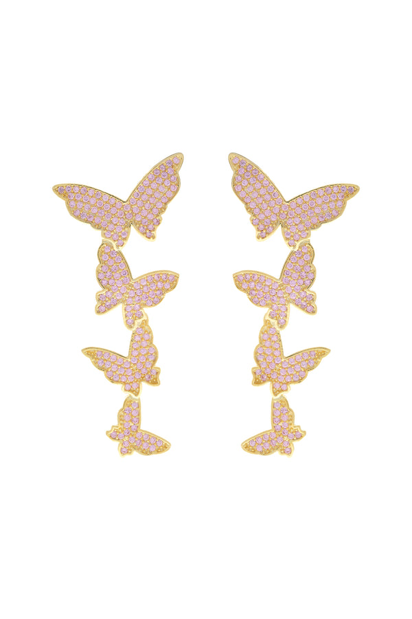 Pink Butterfly Cascade Pavé Vermeil Earrings image-Chvker Jewelry