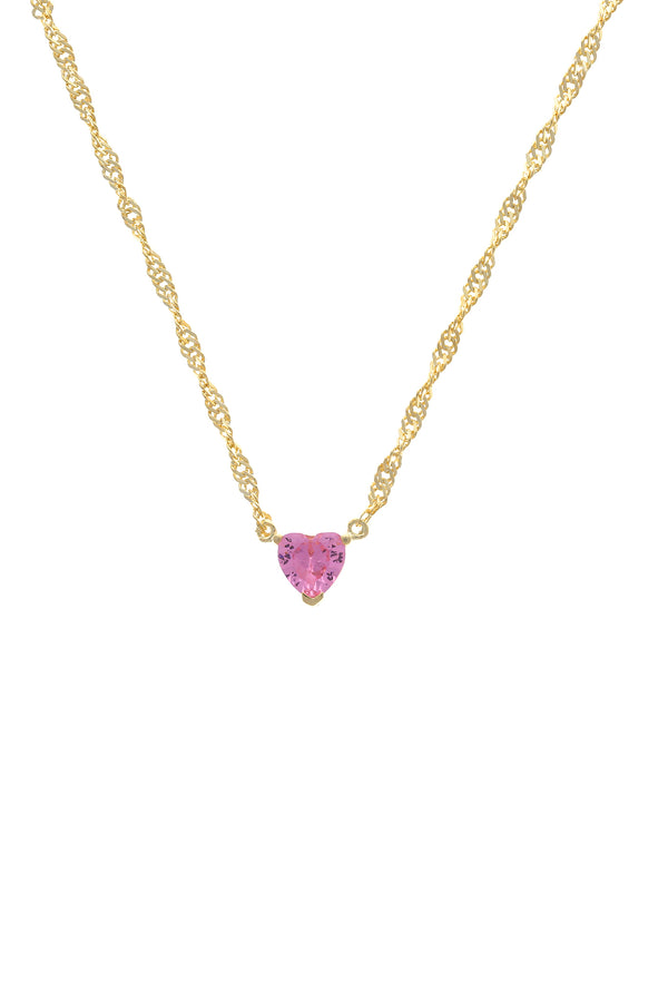 Pink Chéri Heart Vermeil Necklace image-Chvker Jewelry
