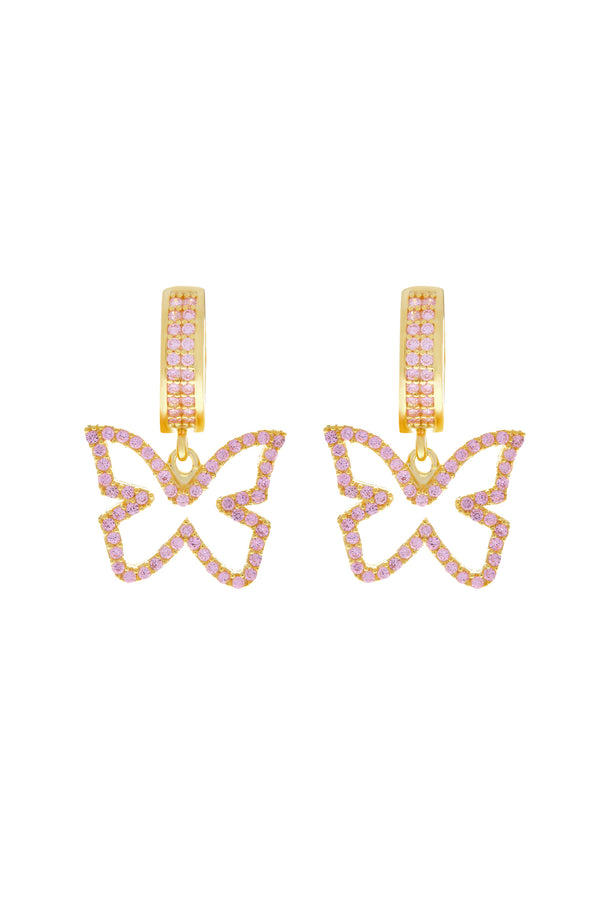 Pink Farasha Pavé Butterfly Vermeil Earrings image-Chvker Jewelry
