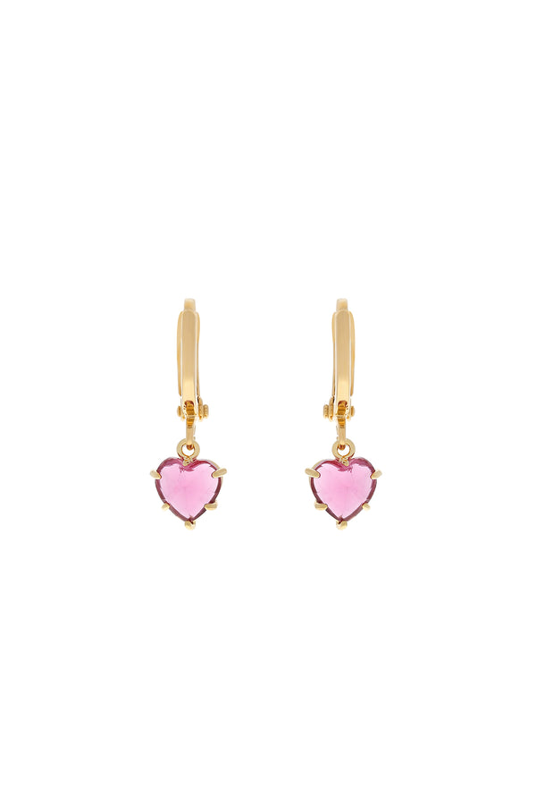 Pink Gem Heart Huggie Earrings-Chvker Jewelry