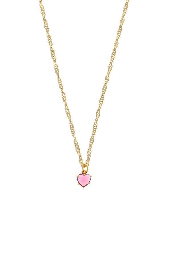 Pink Gem Heart Necklace-Chvker Jewelry