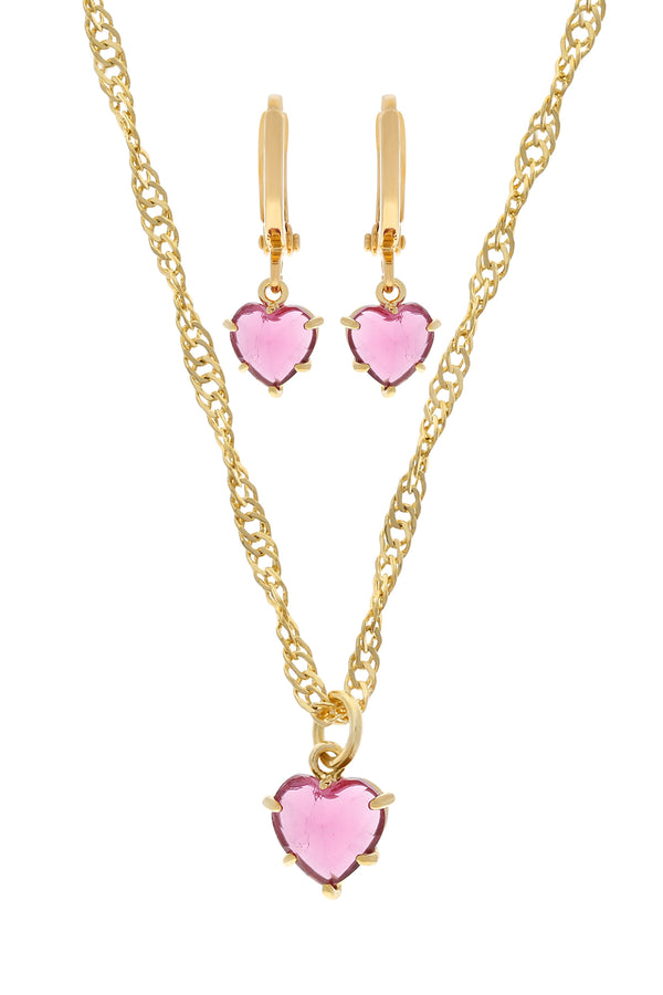 Pink Gem Heart Set image-Chvker Jewelry